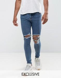 Супероблегающие джинсы с дырками на коленях Jaded London - Синий