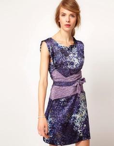 Платье без рукавов с комбинированным принтом и поясом Edun - Синий