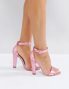 Босоножки на каблуке с ремешком вокруг щиколотки London Rebel - Розовый