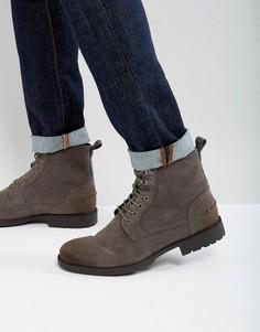 Серые ботинки из искусственной замши на шнуровке ASOS - Серый
