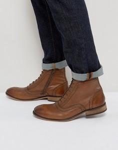 Светло-коричневые кожаные ботинки-броги с молниями и шнуровкой ASOS - Рыжий