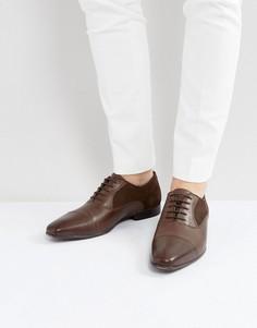 Коричневые кожаные оксфордские туфли с замшевыми вставками ASOS - Коричневый
