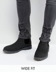 Черные кожаные ботинки челси для широкой стопы с рифленой подошвой ASOS - Черный