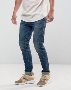 Темно-выбеленные джинсы скинни в байкерском стиле с молниями ASOS - Синий