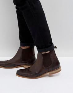 Коричневые кожаные ботинки челси с перфорацией ASOS - Рыжий