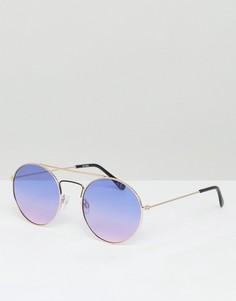 Круглые очки-авиаторы с голубыми и розовыми стеклами ASOS - Золотой