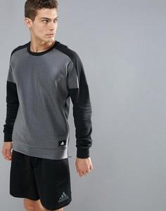 Черный свитшот с круглым вырезом и молниями по бокам adidas Athletics BS4853 - Черный