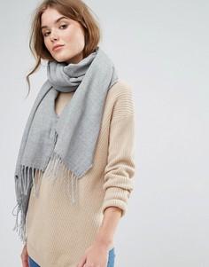 Длинный шарф с кисточками Stitch & Pieces - Серый