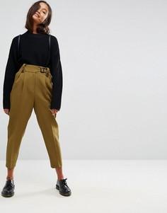 Широкие брюки со складками и пряжкой ASOS Tailored - Зеленый
