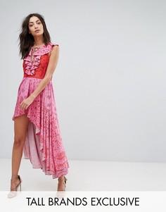 Платье макси со шнуровкой, кисточками и асимметричным краем White Cove Tall - Розовый