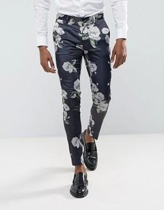 Супероблегающие брюки с мозаичным цветочным принтом ASOS - Черный