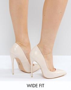 Светло-бежевые туфли-лодочки для широкой стопы на каблуке Lost Ink Abby - Бежевый