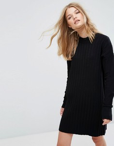 Трикотажное платье в рубчик с высоким воротом Weekday - Черный
