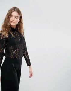 Кружевная блузка с высоким воротом Closet - Черный