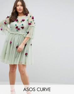 Свободное платье из тюля с рукавами клеш и отделкой ASOS CURVE - Зеленый