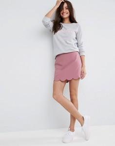 Мини юбка‑трапеция с фигурным краем ASOS Tailored - Розовый