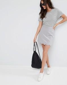 Мини юбка‑трапеция с фигурным краем ASOS Tailored - Серебряный