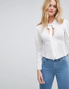 Блузка в стиле 40-х с завязкой ASOS - Белый