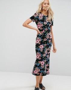 Черное чайное платье макси с цветочным принтом ASOS City - Мульти