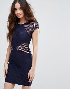 Облегающее платье с сетчатыми вставками AX Paris - Темно-синий