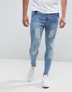 Синие джинсы скинни с эффектом кислотной стирки Illusive London - Синий