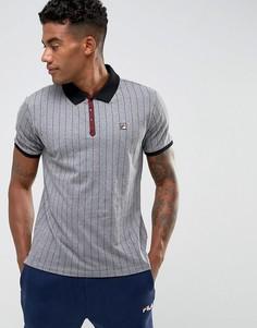 Серая футболка-поло в полоску Fila Vintage - Серый