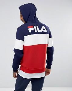 Черный худи на молнии с логотипом на спине Fila - Темно-синий