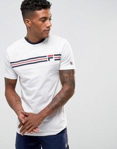 Белая футболка с полосками и логотипом на груди Fila Vintage - Белый