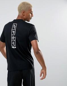 Черная футболка с принтом Fila - Черный