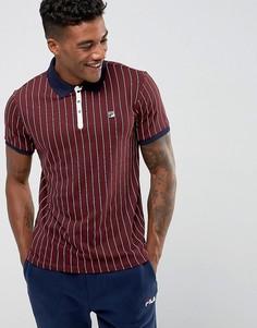 Бордовая футболка-поло в полоску Fila Vintage - Красный