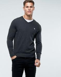 Темно-серый джемпер с V-образным вырезом и логотипом Abercrombie & Fitch - Серый