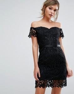 Кружевное платье мини бандо Chi Chi London - Черный