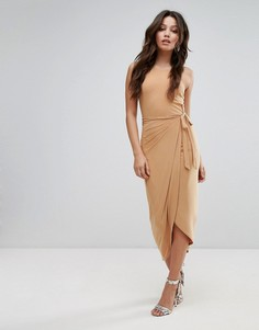 Платье миди с высоким воротом и запахом Club L - Коричневый