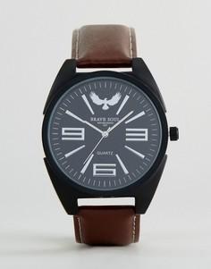 Круглые часы с коричневым ремешком Brave Soul - Коричневый