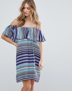 Платье в полоску с оборкой Deby Debo Louane - Синий