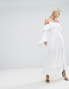 Платье макси с оборкой C/Meo Collective Compose - Белый