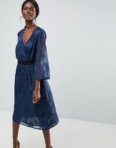 Платье миди с принтом Y.A.S - Синий
