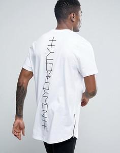Супердлинная футболка с принтом New York и молниями ASOS - Белый