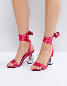 Атласные босоножки на блочном каблуке с завязками Park Lane - Розовый