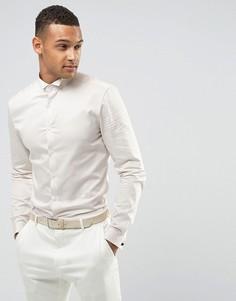 Белая сатиновая приталенная рубашка с двойными манжетами ASOS Wedding - Белый
