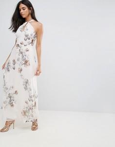 Платье макси с завязкой на шее и принтом Hope & Ivy - Кремовый