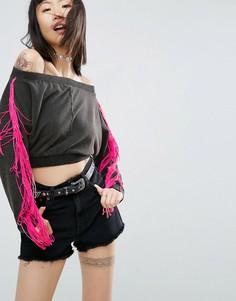 Укороченный свитшот с открытыми плечами и бахромой ASOS - Серый