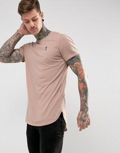 Удлиненная футболка с логотипом на груди Religion - Розовый
