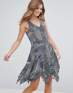 Короткое приталенное платье с принтом Lavand - Темно-синий
