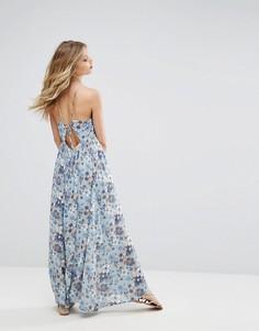 Платье макси с цветочным принтом и поясом Moon River - Синий