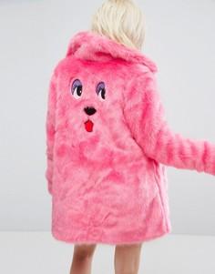 Оверсайз-шуба из искусственного меха с вышивкой в виде медведя Lazy Oaf - Розовый