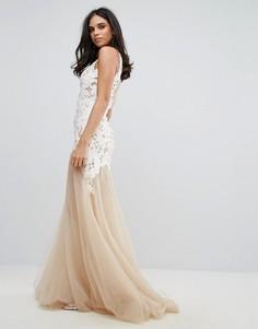Платье макси с аппликацией и полупрозрачной вставкой Forever Unique - Белый