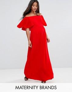 Платье макси с открытыми плечами и оборками Queen Bee Maternity - Красный