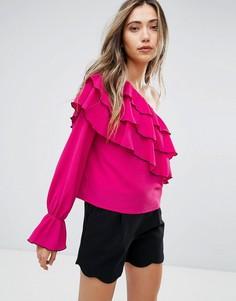 Топ на одно плечо с оборками Pearl - Розовый