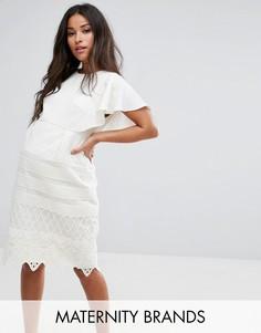 Платье-футляр 2 в 1 с кружевной юбкой Chi Chi London Maternity - Белый